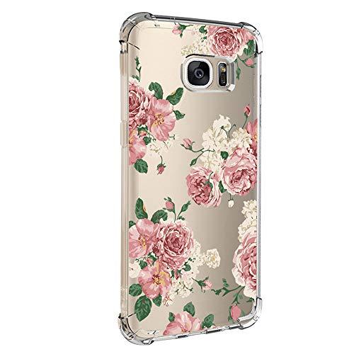 Pacyer kompatibel mit Galaxy S7 / S7 Edge Hülle Silikon cover Bumper [Ultra Dünn] Stoßfest Marmor grau hellblau TPU Schutzhülle Anti-Scratch Anti-Rutsch Handyhülle (Blumen 6, Galaxy S7 Edge)