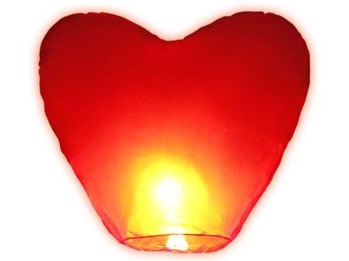 Lampion-Set, in Herzform, lose, chinesisch, biologisch abbaubar, für Party, romantische Momente, Weiß, 10-teilig (Rapunzel Party Decor)