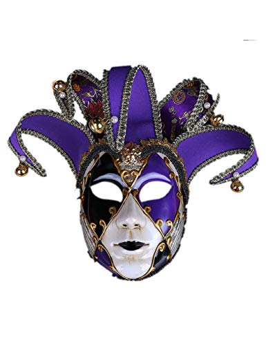 Kostüm Assistenten Weiblich - TUTOU Halloween Ball, Erwachsenen Kostüm Party Cosplay Damen gehobene venezianische Maske Scary Clown Demon Cosplay Item,Lila