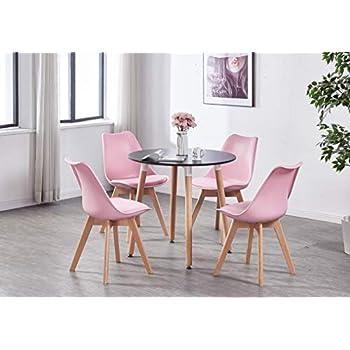 P&N Homewares Ensemble Table Noire Ronde + 4 Chaises ...