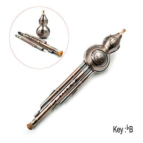 Yiwa Chinesische handgefertigte Hulusi Metall Gourd Cucurbit Flöte Ethnisches Musikinstrument für Anfänger Musikliebhaber bB Key -