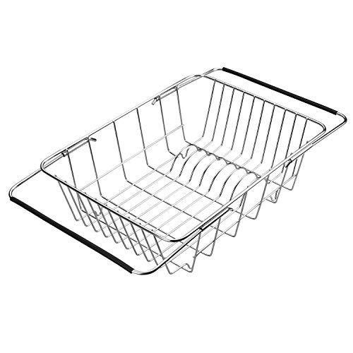 Qiwode Escurreplatos extensible para escurreplatos, cestas de secado de platos para ollas, cuencos y utensilios de cocina, acero inoxidable Style A: Arch Net