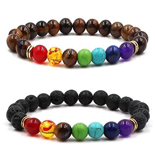 Homeyou 2 stücke Chakra perlen armbänder 8mm natürliche Lava Stein Armband Yoga perlen Angst ätherisches öl diffusor Hand Saiten für Frauen männer
