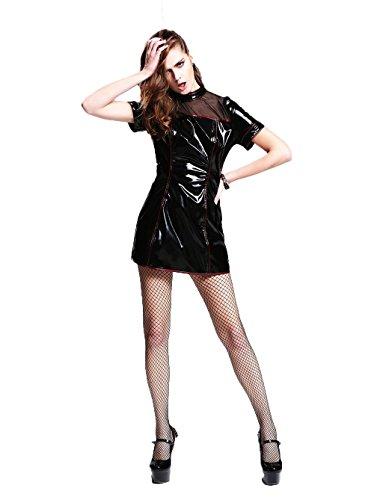 Devil Fashion Gothic Slim Fit Sexy y hermoso vestido de cuero de manga corta vestido Steampunk falda corta para las mujeres,L