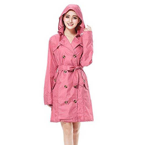 FEIFEI British Style Fashion Regenmantel EVA Material MS Umweltschutz Outdoor Bequem Winddicht Regensicher Sonnenschutz Reisen Zweireiher Schwarz Rosa Beige ( Farbe : Pink )