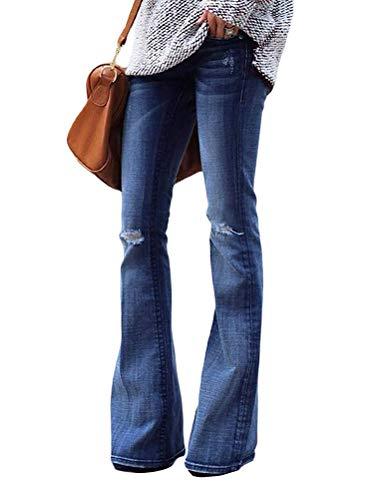 OranDesigne Schlaghosen Damen Jeanshosen Röhrenjeans Skinny Slim Fit Stretch Stylische Boyfriend Jeans Zerrissene Destroyed Jeans Hose mit Löchern Lässig A Blau ()