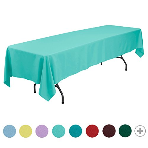 veeyoo redondo rectangular cuadrado sólido poliéster mantel boda Restaurante paño de mesa de fiesta, tela, Turquesa, Rectangle-152 x 320 cm