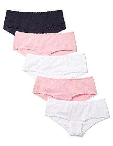 Iris & Lilly Hipster Damen Baumwolle Wellenkante 5er-Pack, Mehrfarbig (Pink Nectar/White/Navy Sky), Medium