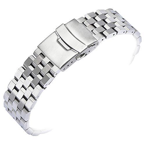 20mm Uhrenarmbänder für Herren Damen Ersatz Edelstahl Uhrenarmbänder Riemen Armband 20mm Silber matt gebürstet