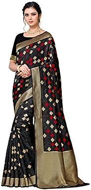 Yipsy Fashion Women's Banarasi Atr Silk Saree With Blouse Ethinc_Black_Free S