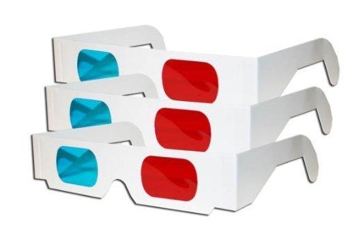Foto de Gafas 3D - rojo y cian anaglifo-3 Par, Blanca Multipack
