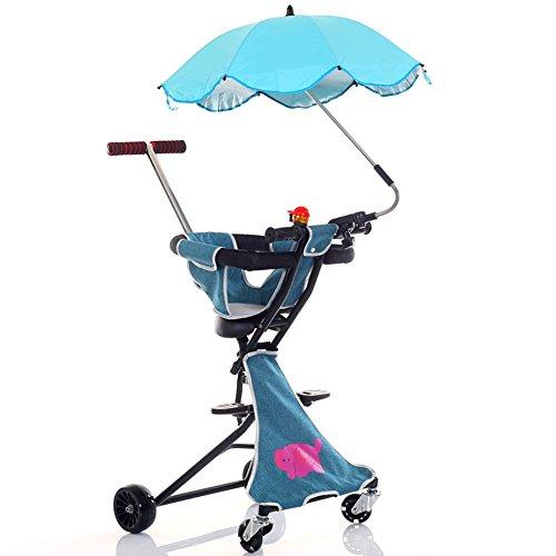 Bicicletas para niños Guo Shop- Carretilla para niños Ligera 2-3-4-6 años de Edad Viajar con Cochecito Plegable para bebés Fácil de Llevar Ruedas para Todo Terreno (Color : Azul Claro)