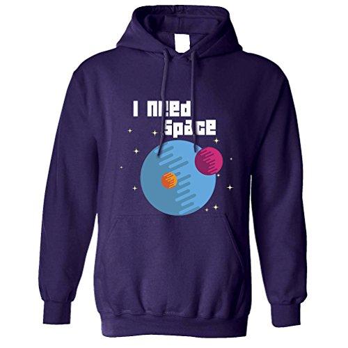 Ho bisogno di spazio Pun Joke Pianeti Luna Galaxy Outer Space Geek Nerd Unisex Con Cappuccio Purple