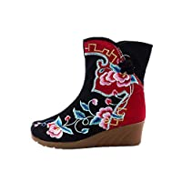 Tianrui Crown Women and Ladies Papercut Embroidery Mid-Calf Boots Wedge Short Boot Shoes