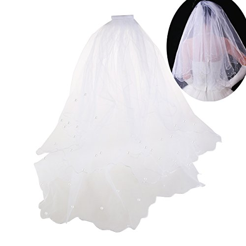WINOMO Brautschleier Hochzeitsschleier mit Kamm Doppelte Schichte Lange 80cm Weiß