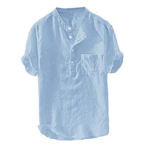 LAsimi Herren T Shirt, Herren Sommer Neue Reine Baumwolle Hanf Knopf kurzen Ärmeln Mode große Bluse Top(Himmelblau,XX-Large)
