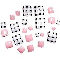 24 unidades creativos rejilla clavos Corto falsa artificial falsa Toe Nails Variedad Toe clavos con adhesivo