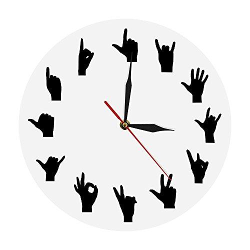 llsmting Wanduhren,Uhren Hand Gebärdensprache Wandkunst Handgesten Variation Wanddekoration Hände Minimalistisches Design Wohnzimmer Modern Ideal Für Jeden Raum In Der Wohnküche (Sie In Gebärdensprache)