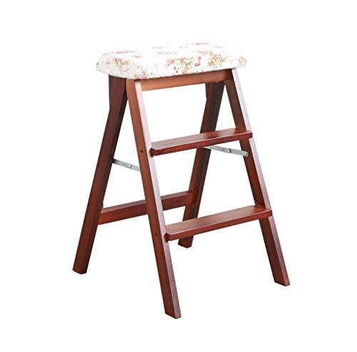 en Massivholzleiter Hocker Klappbar Klappbar Braunes Hockerbein Stufen Hocker Multifunktionale Holzküche Büroleiter Stuhl mit 3 Stufen (Farbe: E) ()