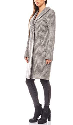 Linea TESINI Warmer Mantel Damen Wollmantel Casual Grau, Größenauswahl:42
