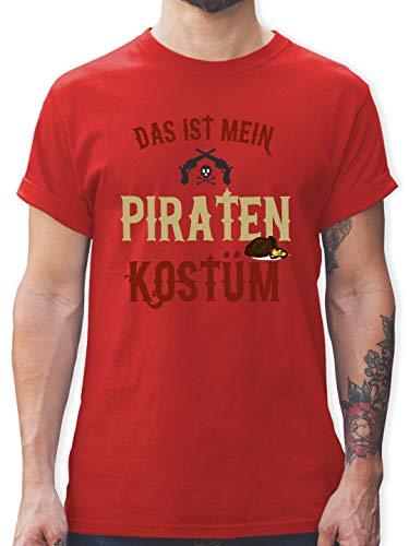 Karneval & Fasching - Das ist Mein Piraten Kostüm - L - Rot - L190 - Herren T-Shirt und Männer Tshirt (Ideen Für Gruppen Kostüm Lustig)