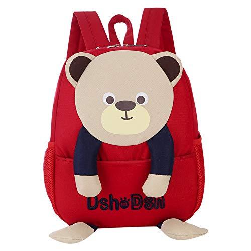 YWLINK Kinderrucksack Kinder Rucksack Baby Tasche SüßEs Tier 3D BäR KinderrucksäCke Schulrucksack Junge Mädchen Campus Daypacks(Rot,23cm(L) X26cm(H) X9cm)