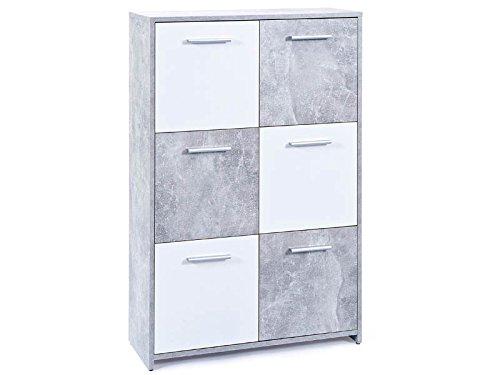 Esidra soggiorno 6 ante e 2 cassetti, legno, grigio, 77x30x115 cm