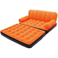 Shoppion Sales 5 in 1 Inflatable Three Seater Queen Size Sofa Cum Bed with Pump(Orange)