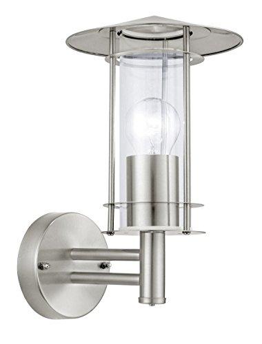 EGLO 30184 Laternenleuchten für den Außenbereich IP44 Lisio E27 Edelstahl, Glas, Stahl