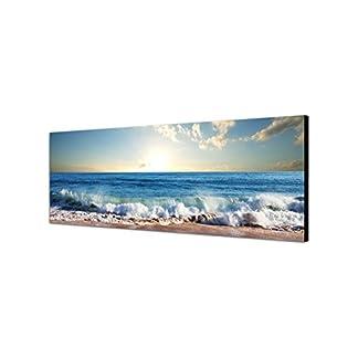 Quadro da parete su tela con panorama, dimensioni: 150x 50cm, raffigurante il mare, la spiaggia e il tramonto tra le nuvole