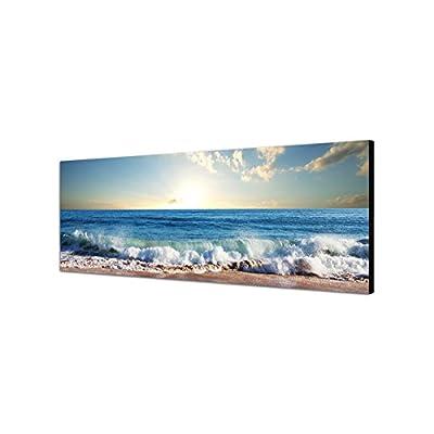 Quadro da parete su tela con panorama, dimensioni: 150 x 50 cm, raffigurante il mare, la spiaggia e il tramonto tra le nuvole
