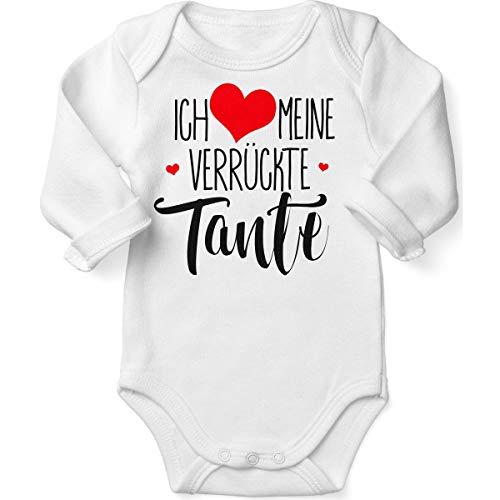 Mikalino Babybody mit Spruch für Jungen Mädchen Unisex Langarm Ich Liebe Meine verrückte Tante | handbedruckt in Deutschland | Handmade with Love, Farbe:Weiss, ()