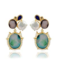 The Bohemian Gold-Plated Dangle & Drop Earring For Women Green- E113-314