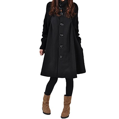 Sg Women Splicing Sweater Patchwork Wool Blend Cloak Single Breasted Swing Pea Coats