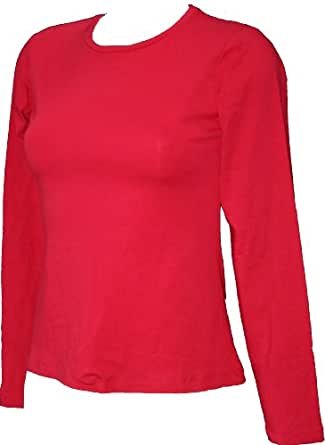 Ex Store Red Cotton Jersey Long Sleeved Round Neck T-Shirt Size 8