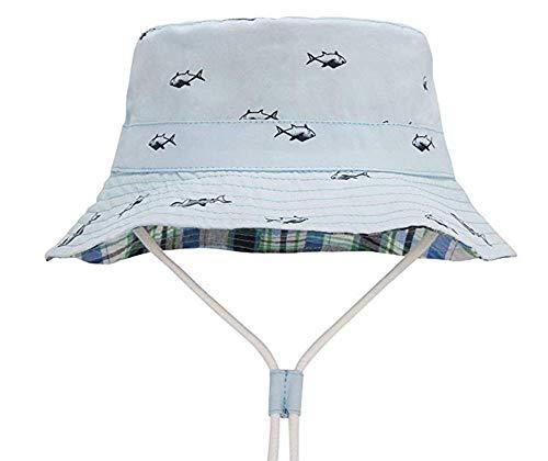 Baby Sonnenhut Unisex Kleinkind Sommer Bucket Hat UPF 50+ (Blaues Gitter, 54 cm /4-7y) -