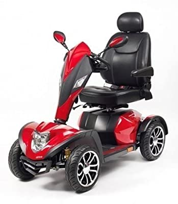 Drive Cobra 8mph 4 Wheeled Heavy Duty Deluxe Sport Road Mobility Scooter - Red
