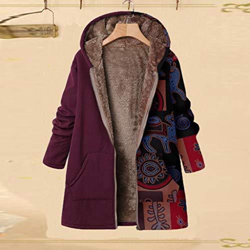 Veste Kimono Gilet Blazer Manteau Hiver Femme Winter Warm Outwear Pochettes à Capuchon à imprimé Floral Manteau Femme Grande Taille Vintage Veste à Fleurs Imprimées épais Mode Parka Blouson Pas Cher