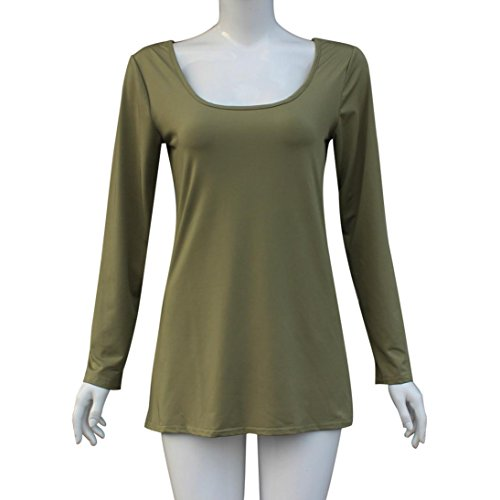 Tops, FEITONG Femmes Sexy Backless manches longues col rond Pull Blouse Vert
