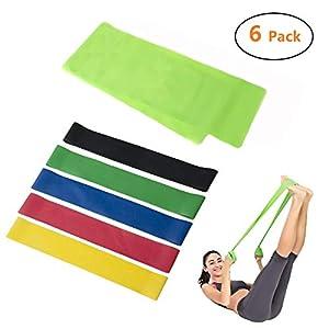 Cymax Fitnessbänder Set 6 – 1er Widerstandsbänder(125cmX 15cm) mit 5er Stärken Fitnessband Gymnastikband(50cmX 5cm) für Muskelaufbau Physiotherapie Pilates Yoga Gymnastik und Crossfit