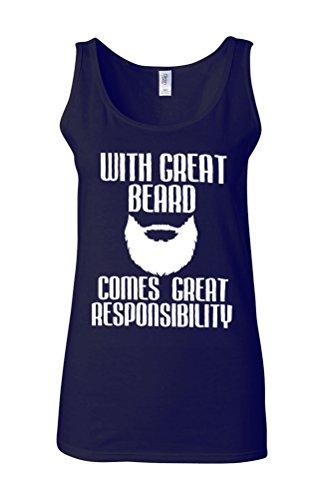 Great Beard Comes Responsibility Novelty White Femme Women Tricot de Corps Tank Top Vest Bleu Foncé