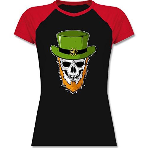 Festival - St. Patricks Day - Totenkopf - zweifarbiges Baseballshirt / Raglan T-Shirt für Damen Schwarz/Rot
