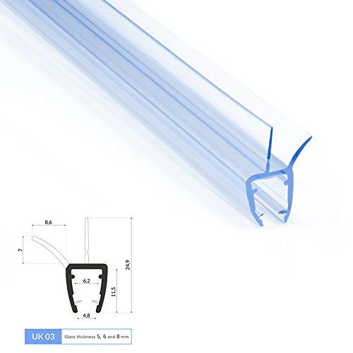 0.6m Joint de douche UK03 pour 5. 6 et 8mm epaisseur d'ecrans