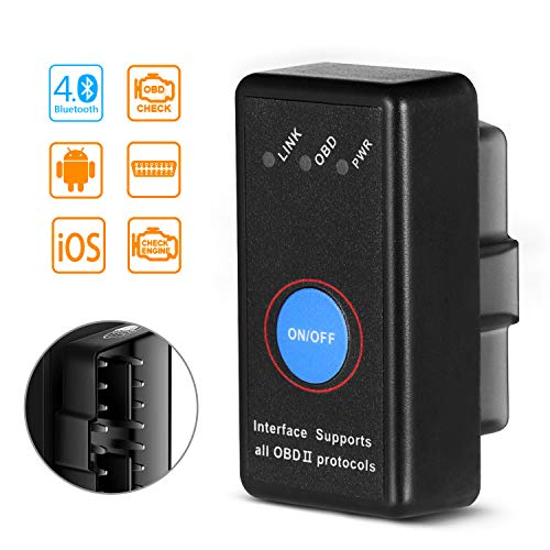 SAVFY OBD2 Bluetooth 4.0,Diagnosi per Auto, Mini Adattatore Wireless Codice Errore di Scansione per Veicolo - Connessione Via Bluetooth a Dispositivi iOS, Android e Windows