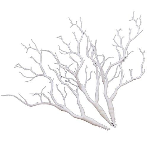 YNuth 3 Stück Zweige Äste aus Kunststoff Weiß Kunstpflanzen Blumenvase Dekoration