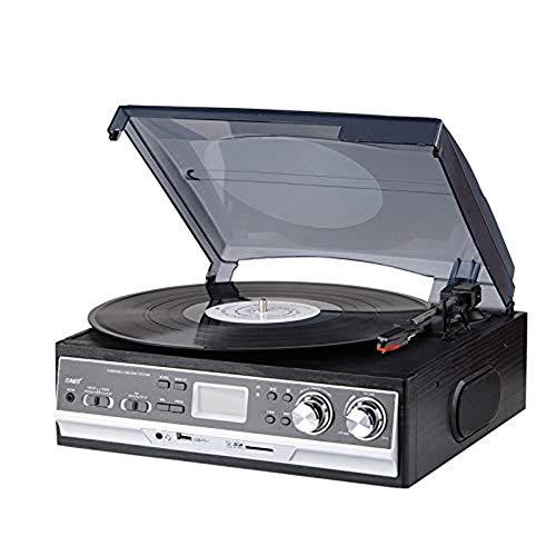 Belt Drive Record Player, Plattenspieler aus Vinyl mit Lautsprecher, USB/SD-Kompatibilität mit Kassette, AM/FM-Radio, AUX-IN und RCA-Ausgang, Kopfhöreranschluss (Player Record Belt)