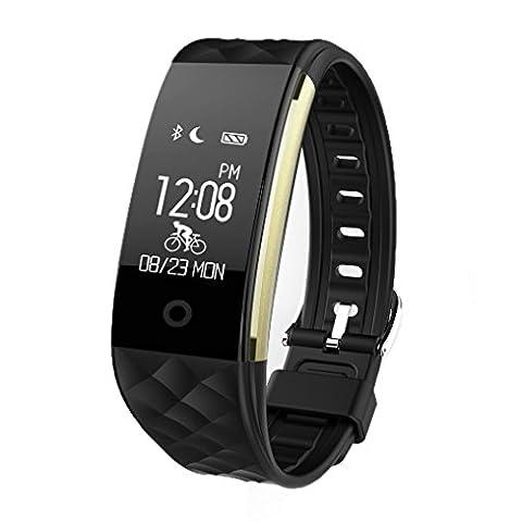 Herzfrequenz Fitness Tracker, Zimingu S2 Fitness Uhr Armband Pulsuhr Aktivitätstracker Wasserdicht IP67 - Bluetooth 4.0 Sport Smart Watch Armband, mit Schlafmonitor, Schrittzähler, Kalorienzähler, SMS Anrufe Reminder für iPhone Samsung iOS 7.0 oder höher (nicht für iPad), Android 4.3 oder höher Smartphones (Schwarz)
