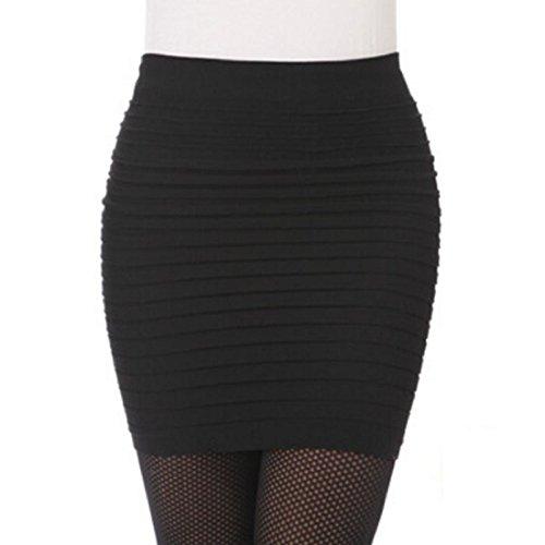 Amlaiworld 1pc moda donna vita alta pieghe elastico pacchetto Hip (Nero)