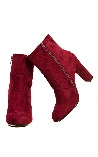 Women's Ladies Stunning Faux Suede Glam Heeled Boots Purple