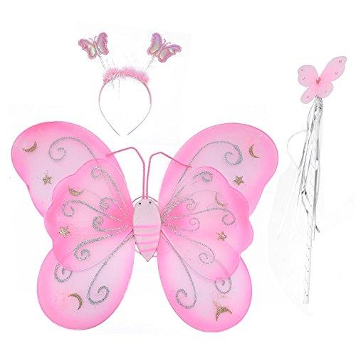 SODIAL Maedchen 3 Stueck Set Fee Prinzessin Funkeln Schmetterling Party Kostuem Fluegel Stab Stirnband (3-8Y) ()